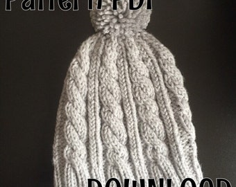Beanie Knitting PATTERN, cable hat, PDF DOWNLOAD