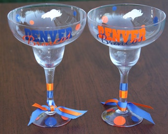 Denver Broncos Margarita Glass