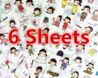 6 Sheets, Cute Sticker, Deco Sticker, Korean Sticker, Scrapbook, Always Sticker, Cute Girl Sticker
