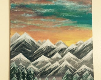 16x20 Original Acrylic Painting  *Mountains Majesty* on Canvas