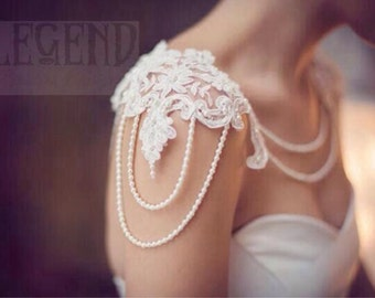 Altair, pearl and lace shoulder jewellery