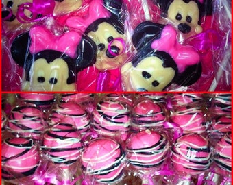 Minnie Mouse combo. Minnie Mouse lollipops. Minnie Mouse cake pops. Minnie Mouse party favors. Minnie Mouse birthday. Minnie Mouse