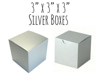 "Silver Boxes 3 x 3 x 3"" Square, 100 Pack of Wedding Favor Boxes, Gift Box, Cupcake Box/Candy Box-Smooth Cardboard Box, DIY, Metallic Silver"