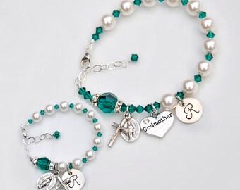 Personalized Baby Bracelet and Matching Godmother Bracelet Set - Emerald Green May Birthstone - Baptism Gift - Custom Rosary - Swarovski