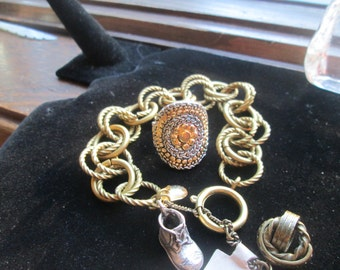 Vintage Costume Jewelry Adjustable Bracelet 7.5 to 9.5 Inches and Ring Size 8.5 Colors Brass & Silver