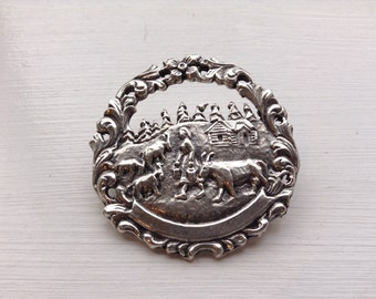 Vintage Norwegian Pewer Brooch of milk maiden