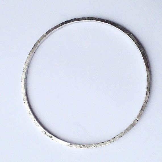 Rustic Silver Bangle - Distressed Texture - Stacking Bangle