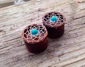 "Bloodwood Dream-Catcher Plugs -Sizes 5/8""(16mm)&11/16(17.5mm)Handcrafted Wood/Wood Gauges/Hippie/Wood Plugs/Organic/Tunnels/Native American"