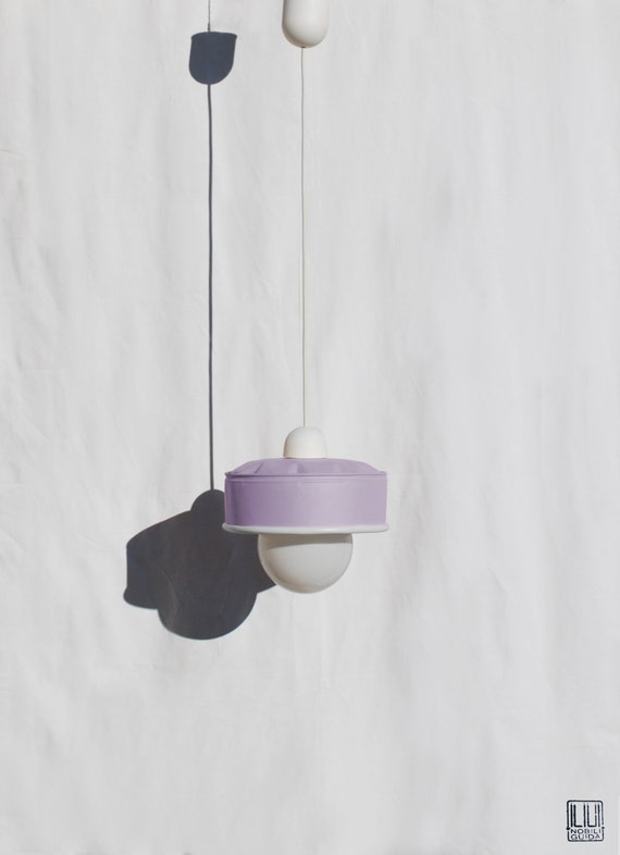 Hanging / pendant / ceiling lamp, light pastel violet / maulve color ... eco friendly & handmade : recycled from  coffee can !