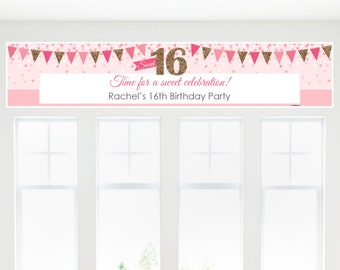 Sweet 16 Birthday Party Banner - Custom Birthday Party Decorations