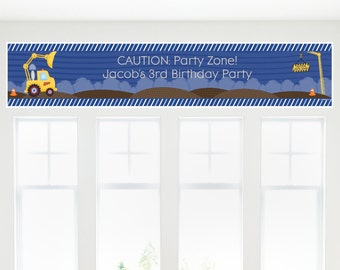 Construction Truck Banner - Custom Baby Shower or Birthday Party Decorations