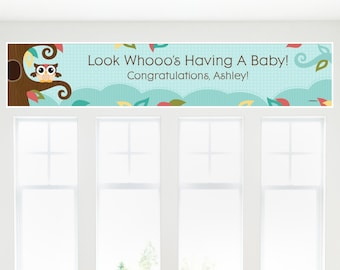 Owl Banner - Custom Baby Shower or Birthday Party Decorations