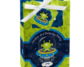 12 Space Alien Favor Boxes - Custom Birthday Party Supplies