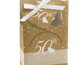 50th Anniversary Favor Boxes - Custom Anniversary Party Supplies - Set of 12