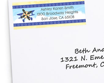 Airplane Address Labels - Personalized Return Address Sticker - 30 Count