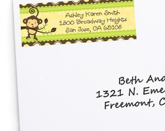 Monkey Address Labels - Personalized Return Address Sticker - 30 Count