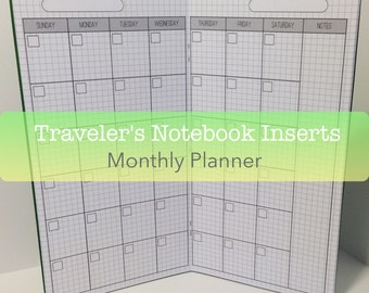 Monthly Planner -- Grid {Personal Size} Traveler's Notebook Insert Booklet // Choose Cover & Paper Colors!