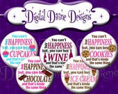 You can't buy Happiness - 1 inch round digital graphics - Instant Download