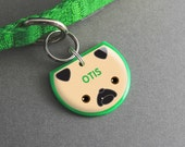 Pug Dog ID Tag - Custom Name Tag, Dog Accessories, Cute Pet Tag - Pixsqueaks