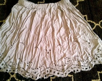 Upcycled Flowy Peasant Mini Skirt M