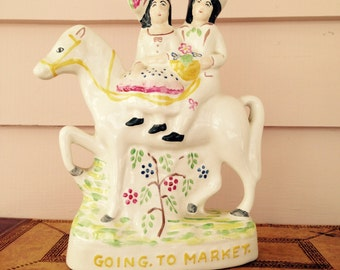 "Vintage Staffordshire Figurine ""Going To Market"""