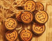 20 Wedding favors , Wooden ornament, decor, eco, wood burned heart custom initial, date ornament, natural wood slice