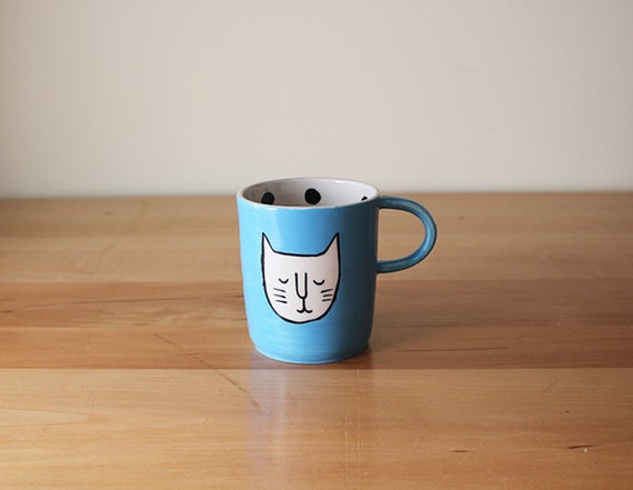 Happy Cat Face Mug in Turquoise with Black Polka Dots on interior - cute, handmade pottery, made in Montreal, Quebec, Canada
