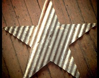 24-inch star - aged corrugated barn tin