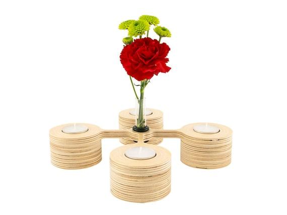 Wood votive candle holder and glass vase tea light