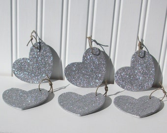Silver Glitter Heart Decoration, Ornamanet for any Occasion, Set of 6
