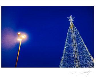 Let There Be Light, Seasonal light arrangement, on evening blue sky.