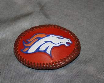 Bronco Head Leather Belt Buckle