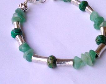 Beadwork bracelet Green Aventurine  and silver woman's bracelet