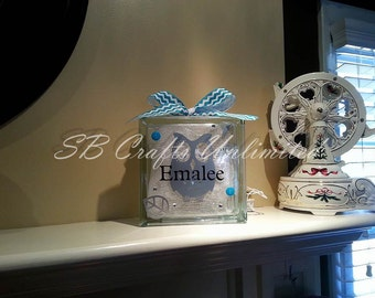 Owl Home decor Custom 8 x 8 Lighted Glass Block.  Themed and personalized to suit.