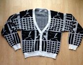 Black & White Vintage Cardigan Sweater / Medium / Division '10'