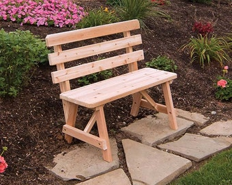 Red Cedar Traditional Backed 4ft. Outdoor Bench