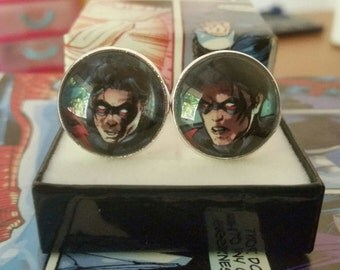 18mm silver plated cuff links cufflinks using DC Nightwing comic image