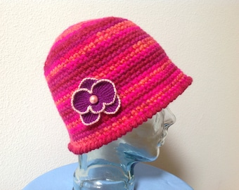 Womans Cloche Hat with Orchid Flower Broach, crocheted by hand in the USA