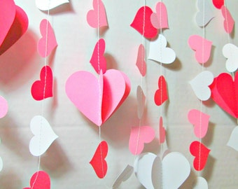 3d valentine heart garland paper garland valentine for Arland decoration