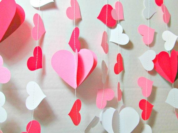 Guirlande coeur Valentine 3D, guirlande en papier, décoration Saint ...