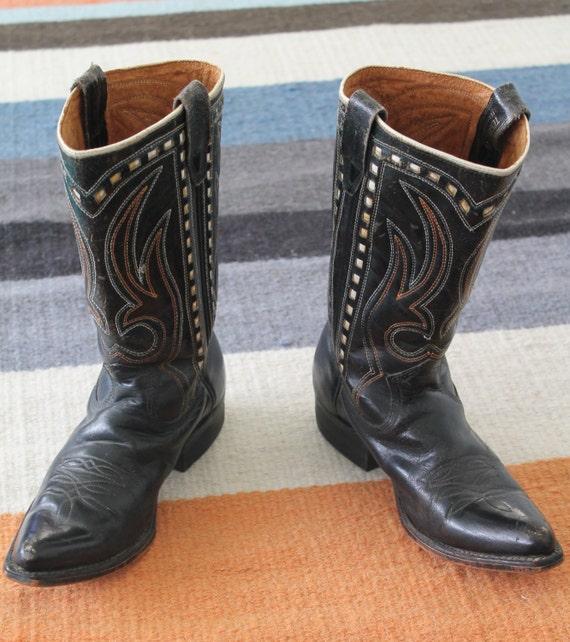 Mystery In Mexico Vintage Black Rockabilly Cowboy Boots