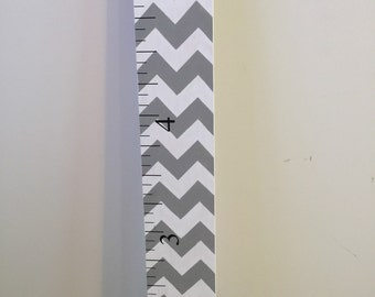 Chevron Wood Growth Chart Ruler 6ft Gray Vinyl
