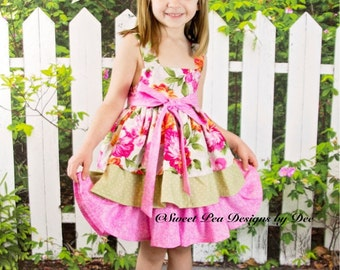 Toddler dress, party dress, special occasion,Easter dress, twirl dress, sundress, summer dress, spring dress, pink floral dress,