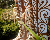 On Sale. Tan Knee High Faux Suede Wedged Boots Hand Painted with an Unique White Tribal Design. Size Uk 6 (Us 8.5).