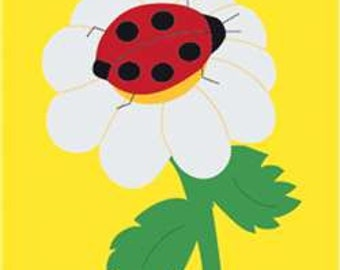Ladybug Handcrafted Applique Garden Flag