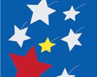 Stars Handcrafted Applique Garden Flag