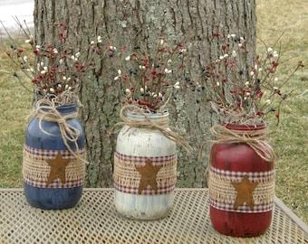 Americana Jars-Patriotic Jars-Painted Jar-Painted Quart Jar-Mason Jar Gifts-Mason Jar Centerpieces