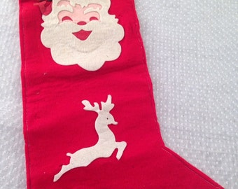 Vintage Handmade Red Felt Stocking
