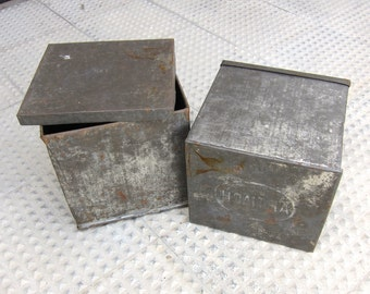 Vintage Cookie Tin Box / Industrial / Spanish Artiach cookie metal box