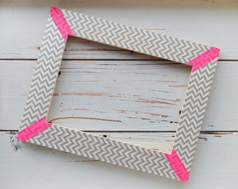 Chevron picture frame with neon details
